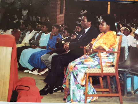 President Juvenal Habyarimana, First Lady Agathe,  relatives and friends celebrating 50th Birthday at a Church in 1986