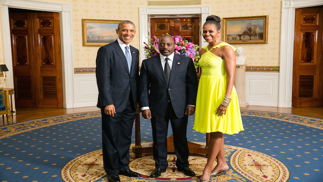 President Obama, Michelle Obama and President Kabila at the Whitehouse during US-Africa Summit in 2014.