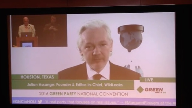 WikiLeaks Julian Assange Weights In at Green Party Presidential Nomination of Jill Stein