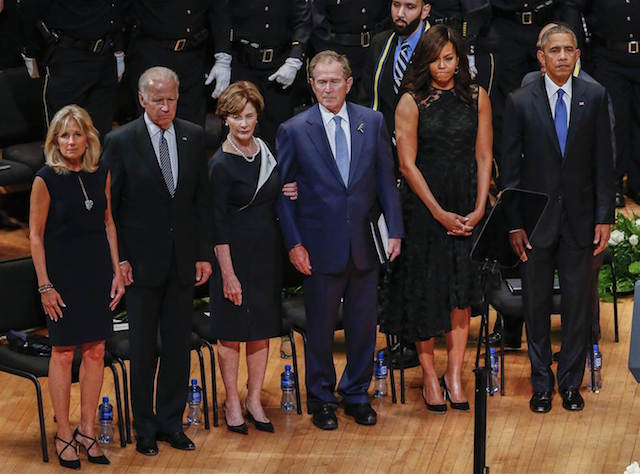 President Obama, President Bush and Vice-President Baiden, along with their spouses, in Dallas on July 12, 2016