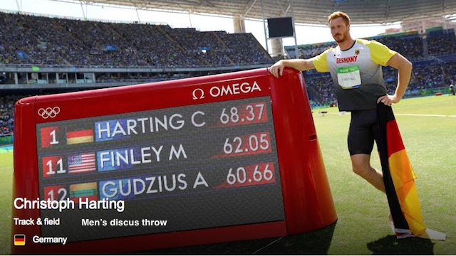 Christoph Harting, Germany, Men's discuss throw