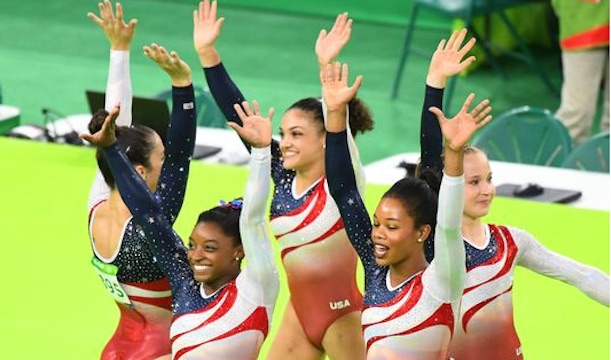 US Women Gymnastics team,  Simone Biles, Gabby Douglas, Aly Raisman, Laurie Hernandez and Madison Kocian, wins gold