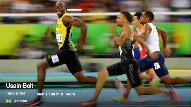 Usain Bolt, from Jamaica: Men's 100 m  and Men's 200 m