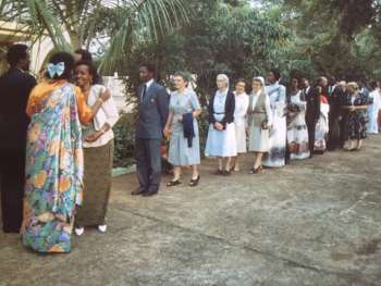 President Juvenal Habyarimana, First Lady Agathe, and officials celebrating 50th Birthday at Residence  in 1986