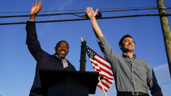 Reverend Raphael Warnock and Jon Ossoff  campaigning in 2020