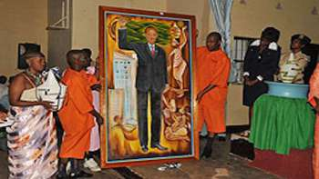 Portrait of Rwandan General Paul Kagame by Prisonners